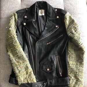 UNIF motorcycle biker jacket leather canvas grunge